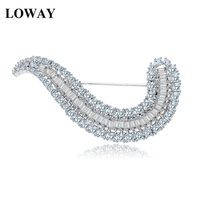 LOWAY Women Luxury White Gold Plated Full Sparkling Cubic Zirconia Vintage Scarf Pin Brooches Bride Wedding