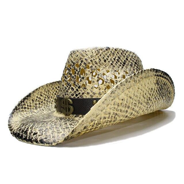 LUCKYLIANJI Retro Women s Men s Summer Straw Beach Wide Brim Cowboy Western  Cowgirl Hat Hollow Dollar Sign Leather Band(Adjust) bca19132d28b