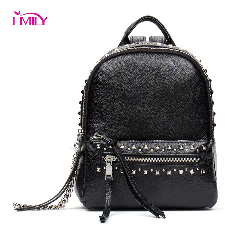 HMILY Women Backpack High Quality Genuine Leather School Bags Real Cowskin Travel Bag For Teenagers Girls Fashion Shoulder Bag fashion women leather backpack rucksack travel school bag shoulder bags satchel girls mochila feminina school bags for teenagers
