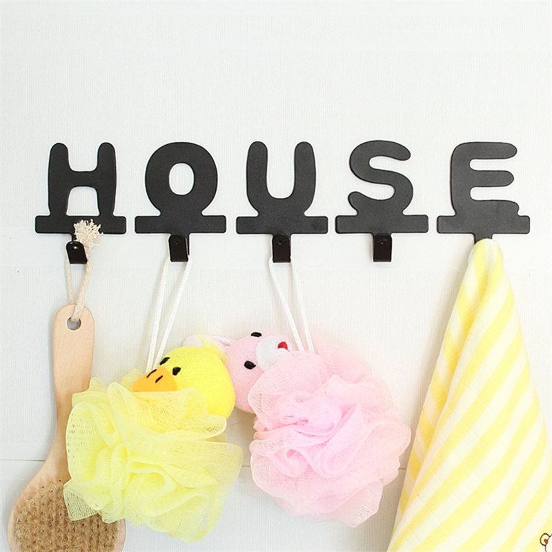 Iron English Letters Hook Creative Wall Hanger Adhesive Style Spelling Combination Decorative Clothes Wedding Decoration