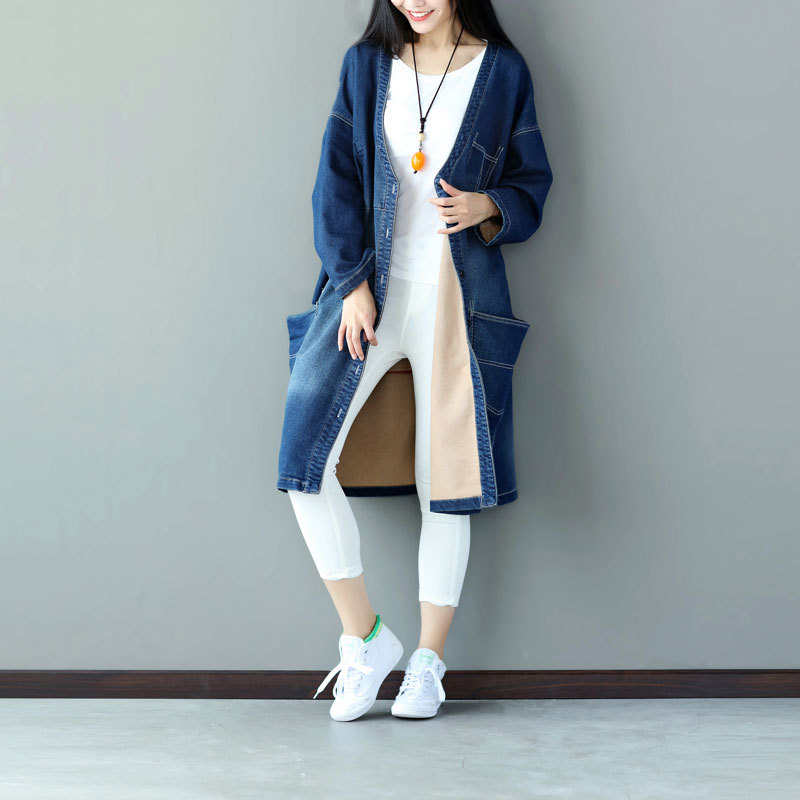 Oversized Denim   Trench   Casual Women Long V-neck Denim Cardigan plus size Knitted cowboy Windbreaker Patchwork Jean Coat YT60