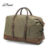 LeTrend Retro Men's Travel Bag Handbag Vintage Shoulder Bags Canvas Handbags High capacity Hand Luggage