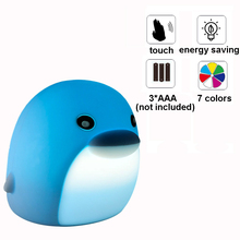 7 Colors Changing Dolphin Soft Silicone Pat Light Children Animal Night Cartoon Baby Nursery Touch Sensor Tap Control Lamp