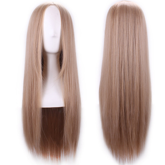 32inch Heat Resistant Synthetic Straight Hair Cheap Fashion Natural Multi Brown Long Wig For White Women