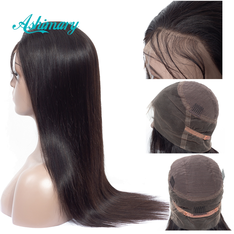 Ashimary Wig Remy Lace Frontal Human-Hair Pre-Plucked Straight Black Women Brazilian