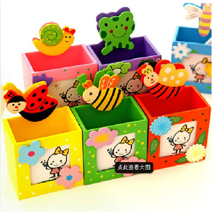 stationery wholesale creative cute wooden pencil box color cartridge clip message frame Stationery filing box 10pieces шкатулки trousselier музыкальная шкатулка wooden box жираф