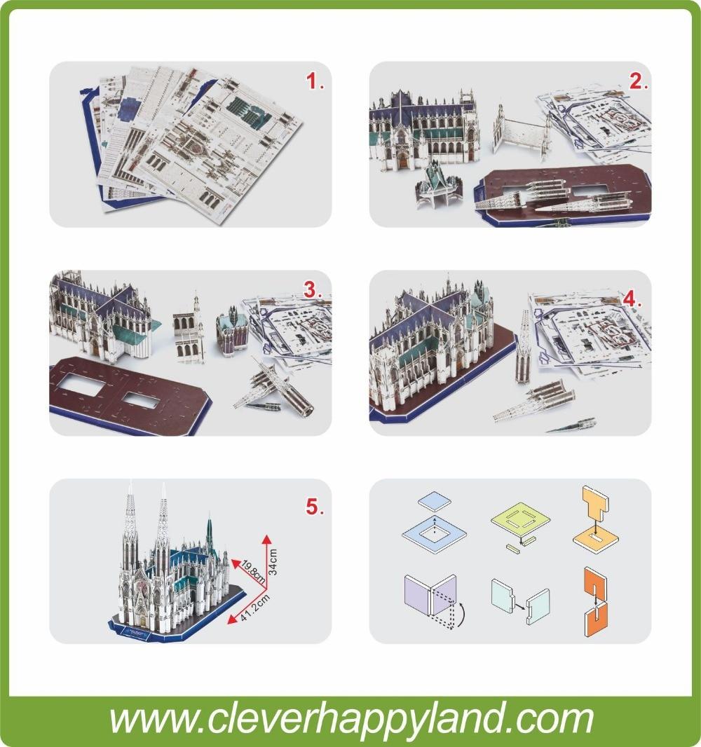 117pcs 3D papir puslespill Saint patrick katedral, puslespill - Puslespill - Bilde 4