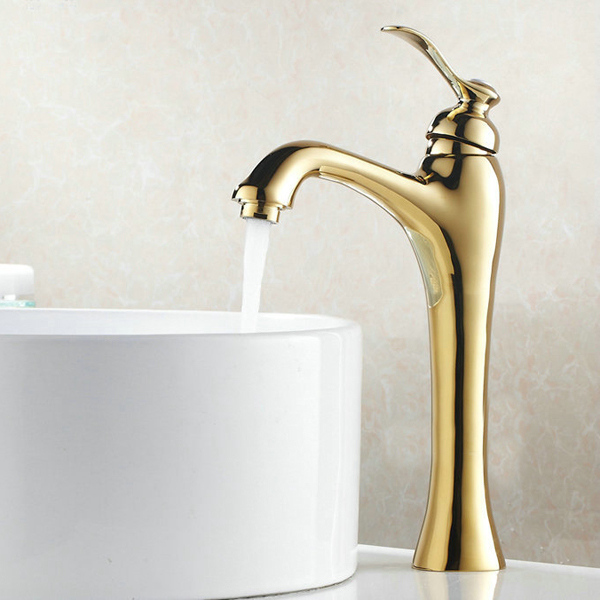 BECOLA Free Shipping Gold Color Bathroom Faucet Deck Mounted Basin - Brass colored bathroom faucets
