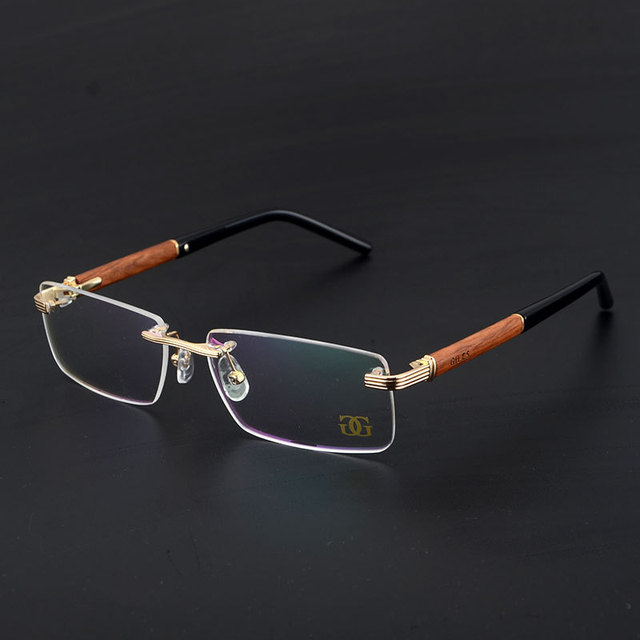 3d842f90041bf Man Wooden Eyeglasses Frame Rimless Metal Eyewear Male High End Classic  Glasses Top Quality Bussiness Spectacle Myopia Optical