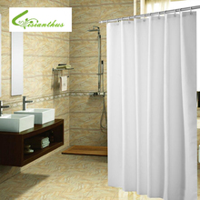 Polyester Fabric Shower Curtain with 12 pcs Hooks Waterproof Plastic Bath Screens Solid Color Eco-friendly Bathroom Curtains
