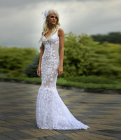 Conntry Style Lace Mermaid Dresses For Bridal Sexy Sheath Draped Lace Wedding Dresses