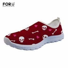 FORUDESIGNS Casual Mesh Shoes Women Love Skull Prints Summer Lightweight Leisure Shoes for Ladies Beach Flats Leisure Shoe Girl first dance women oxfords dr matrins girl casual shoes female leisure shoes for women flats oxford custom 3d prints black shoes