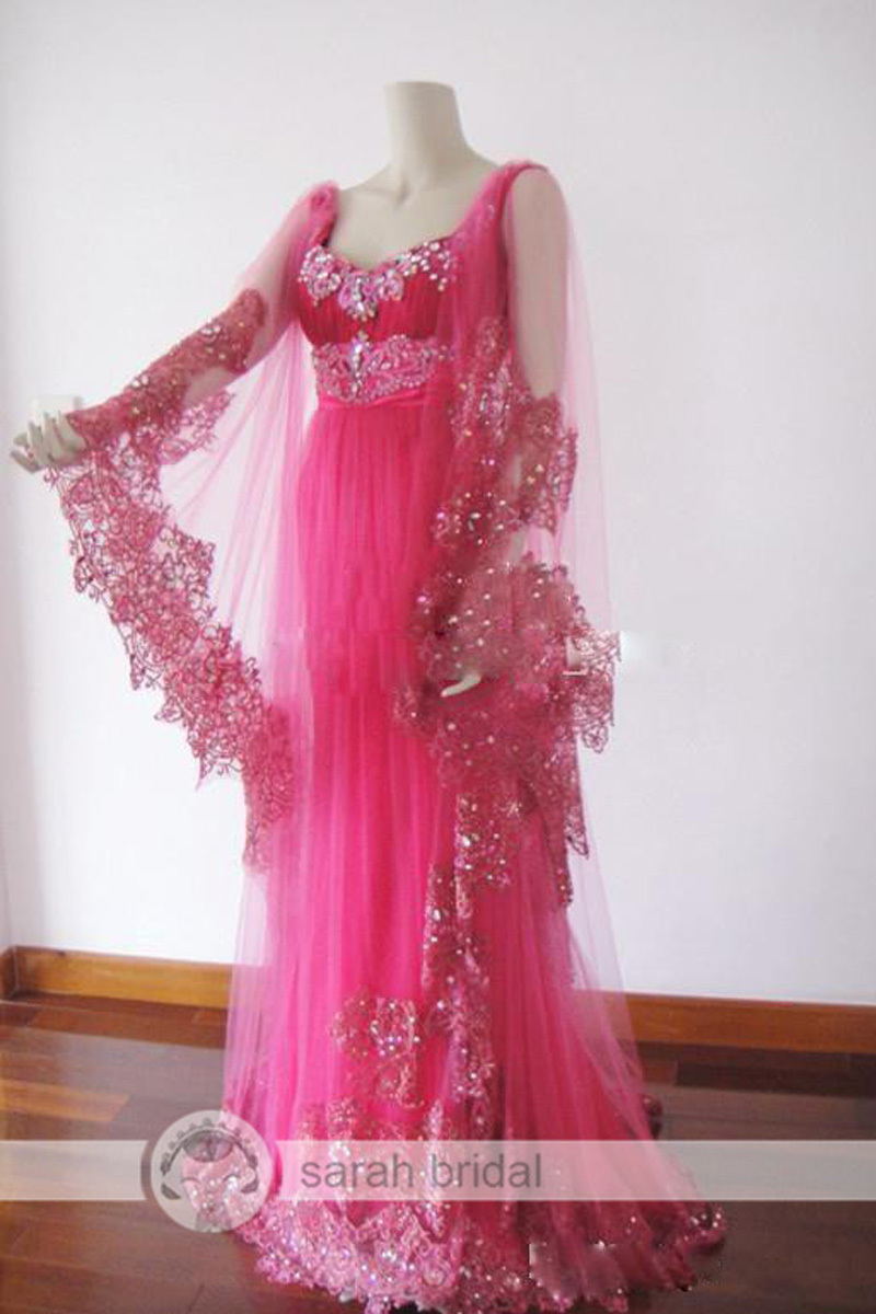 Hot Pink Arabic Maternity Evening Dresses Long Sleeve Hand Beaded ...