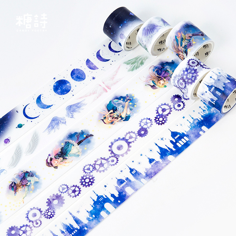 Blue Nocturne Masking Washi Sticky Paper Tape Adhesive Printing DIY Scrapbooking Deco Washi Tape Set 10pack 10x decorative colorful rainbow sticky paper masking adhesive tape scrapbooking diy 5m 0 7cm
