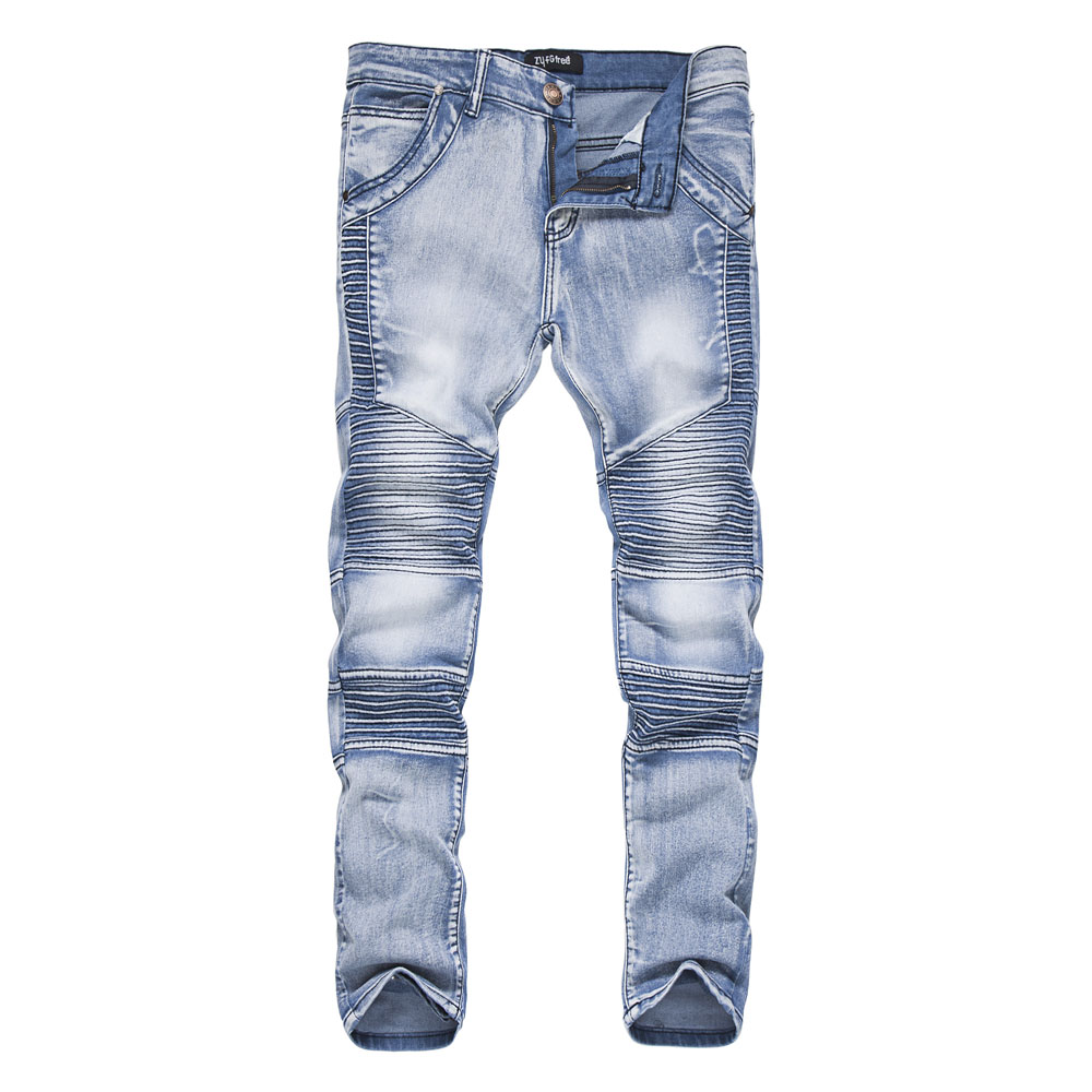 2018 New MenS Jeans Ripped Fold Slim Jeans Pants Korean Style Elasticity Casual Male Trousers Cool Stretch Man Denim Pants XXL