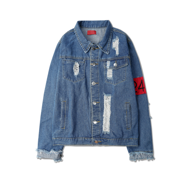 Destruction of washing to do the old zipper armbands dark hole tassel high street FOG jeans jacket for men and women