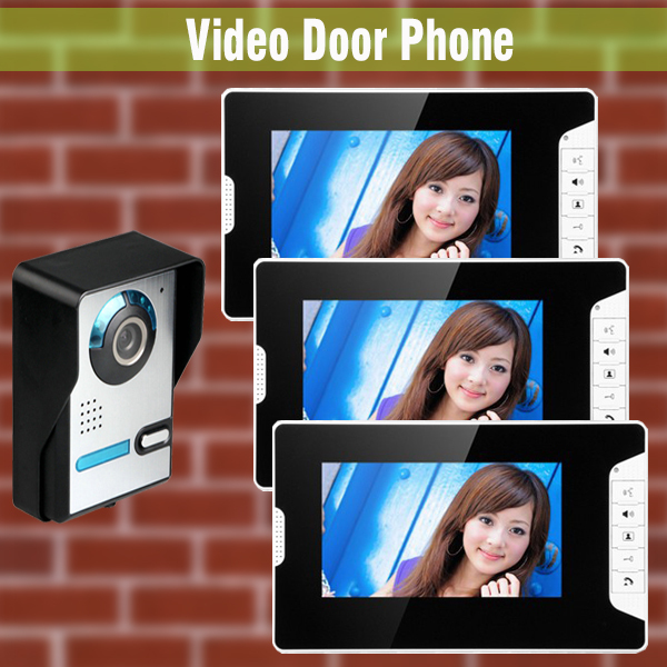 1V3 Home Door wired video intercom doorbell 7 Inch LCD Monitor Video Door Phone Intercom Door bell Camera Video Intercom system brand new wired 7 inch color video door phone intercom doorbell system 1 monitor 1 waterproof outdoor camera in stock free ship