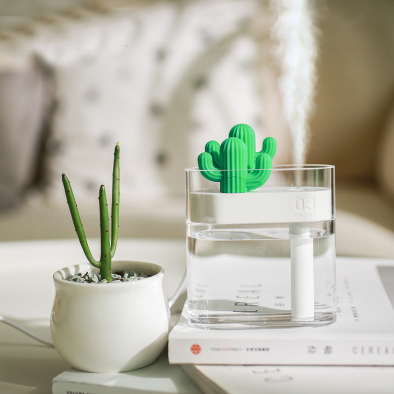 160ML Ultrasonic Air Humidifier Clear Cactus Color Light USB Essential Oil Diffuser Car Purifier Aroma Diffusor