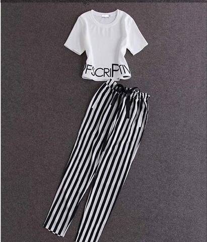 Women T-Shirts Trousers Sets 2 piece set women summer women top and pant set a013f9ab5c