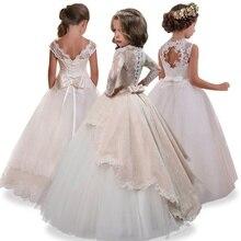 8b4e340ac4544 2019 Fleur Fille Robes Trou robe de Bal Blanc Dentelle Sans Manches Longue  De Mariage Pageant Première Communion Robes pour les .