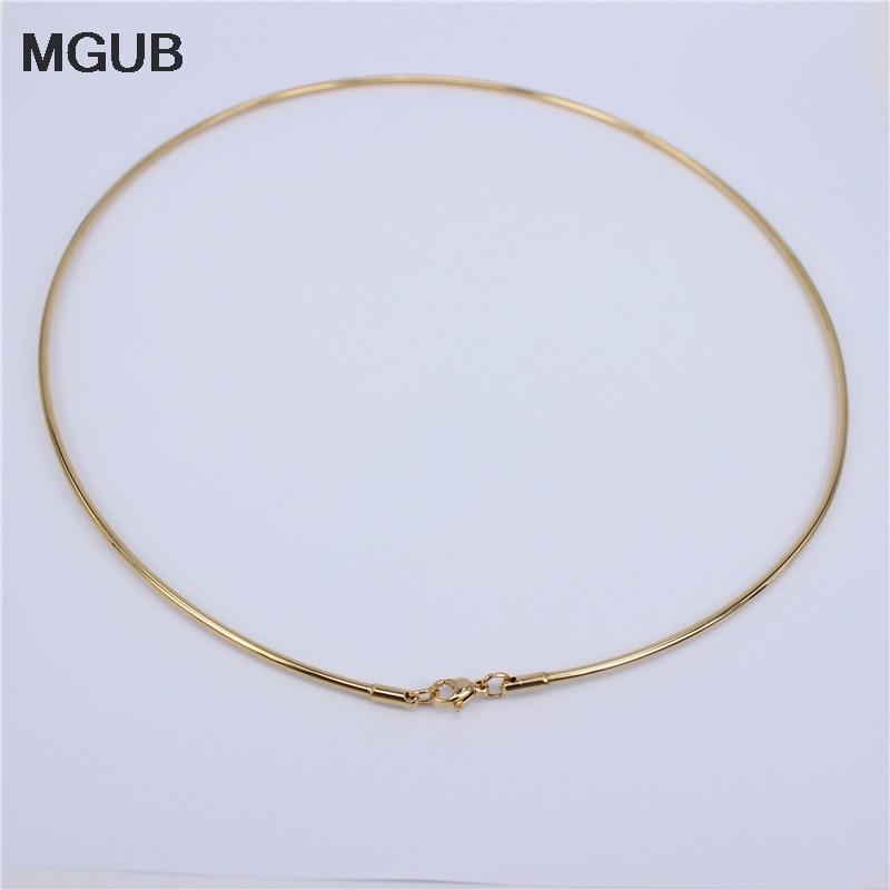 Женское Ожерелье MGUB, ожерелье из нержавеющей стали, регулируемый размер, 2 мм, золотистого цвета, LH552