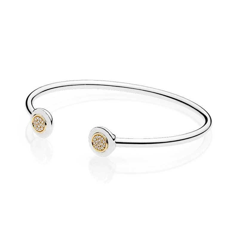 100 Real 925 Sterling Silver Bead Charm Chain Bracelet Fit Original Branded Signature Golden Open Bangle For Women DIY Jewelry in Bangles from Jewelry Accessories
