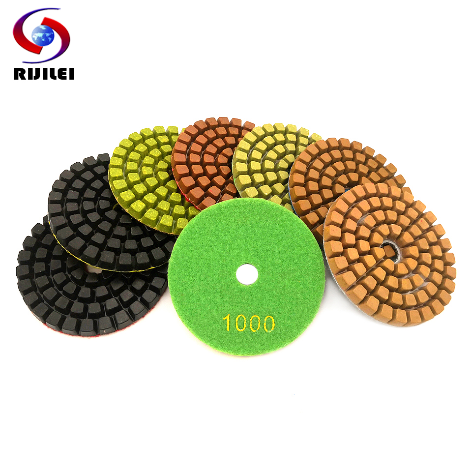 RIJILEI 1piece 4inchThickened Resin Bond Diamond Concrete Polishing Pads Floor Renew Sanding Discs Repairing For Concrete  LW05