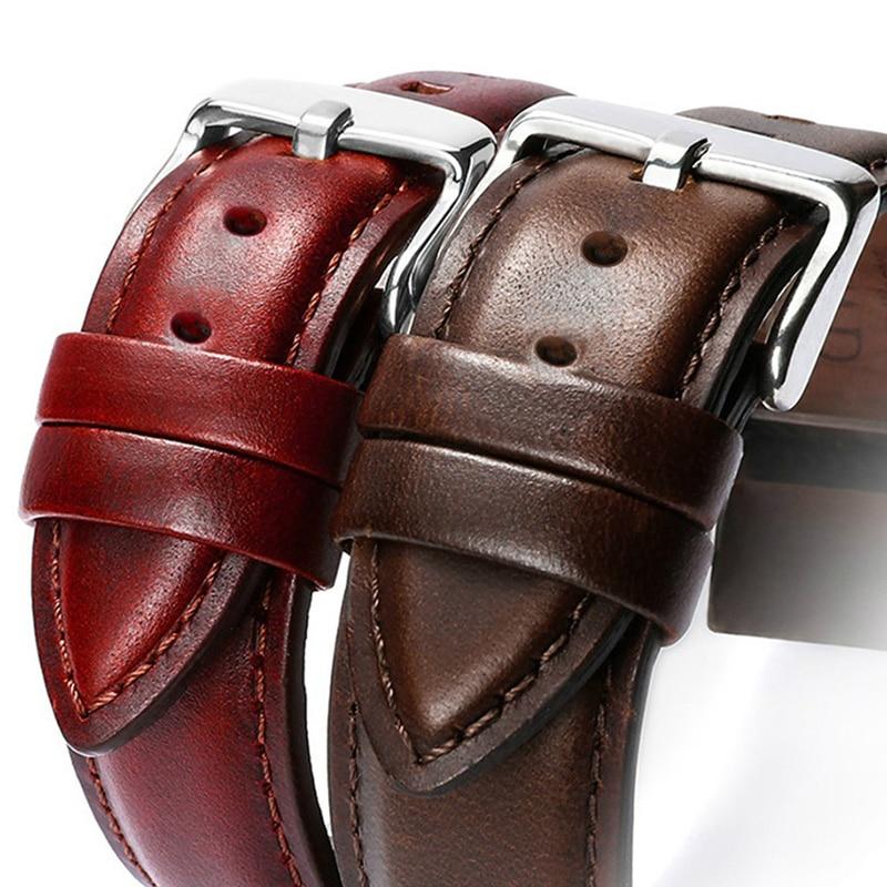 New Genuine Leather Watch Band Men Women Strap 22mm 20mm 18mm 16mm 14mm 12mm Wrist Watch Belts Bracelet Metal Buckle Horlogeband