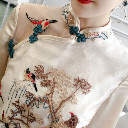Китайское современное платье Ципао с вышивкой и воротником-стойкой
