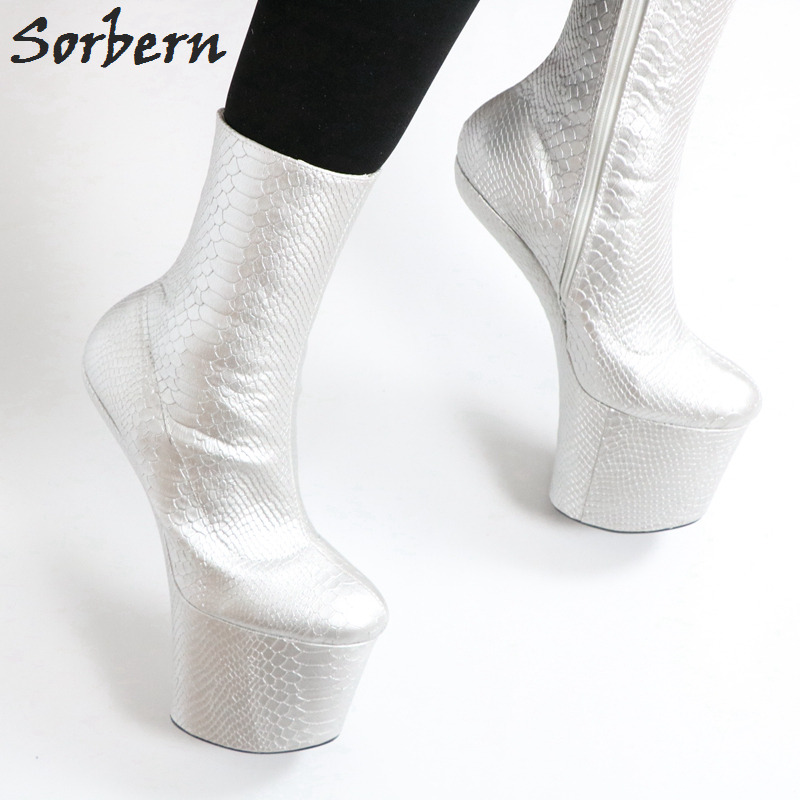 Large D'argent Performance Boot Chaussures De Noir Art Sabot Pour Peau Clair argent mollet Sorbern Femmes Personnalisé Mi Affichage Dames Service custom Serpent Crossdressing Bottes tzq4a5w