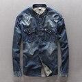 Outono nova primavera dos homens camisa de manga longa ocasional 100% algodão roupas de marca denim shirt dos homens slim fit roupas masculinas overhemd mannen