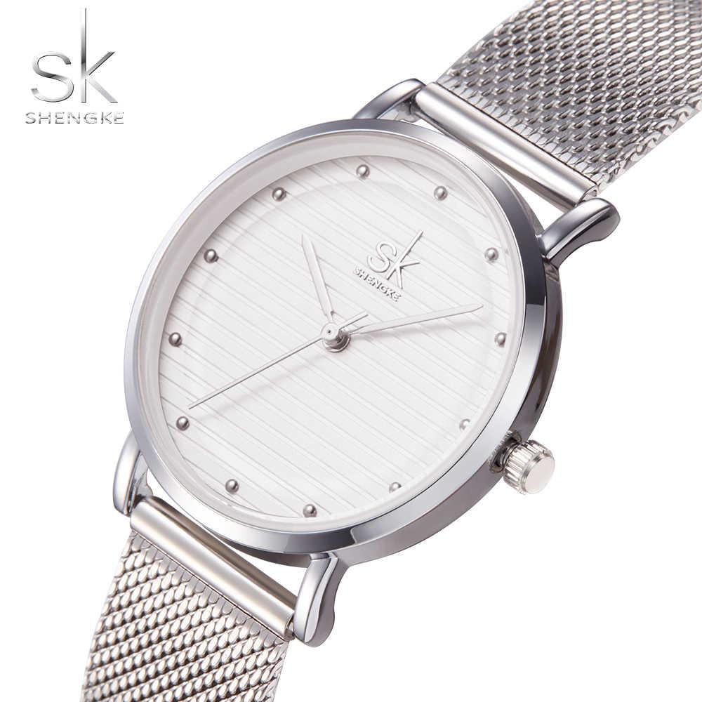 Shengke ブランドクォーツ腕時計質感腕時計女性 zegarek damski カジュアルドレス高級レディースラインストーン防水