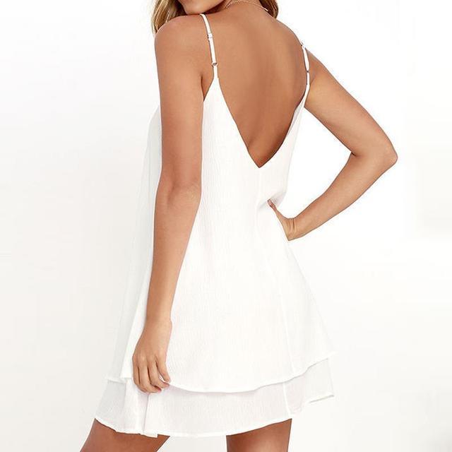 Summer Backless Chiffon Dress Women Sexy Sleeveless Spaghetti Strap Dresses Solid Beach Party Dress Vestidos White LJ9552C