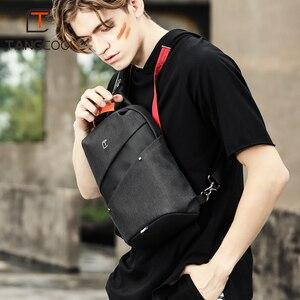 Tangcool الأزياء الرجال حقيبة ساعي بريد للرجال USB شحن تصميم رجل حقيبة صدر للرجال حزمة مكافحة سرقة الكتف Crossbody أكياس ل في سن المراهقة