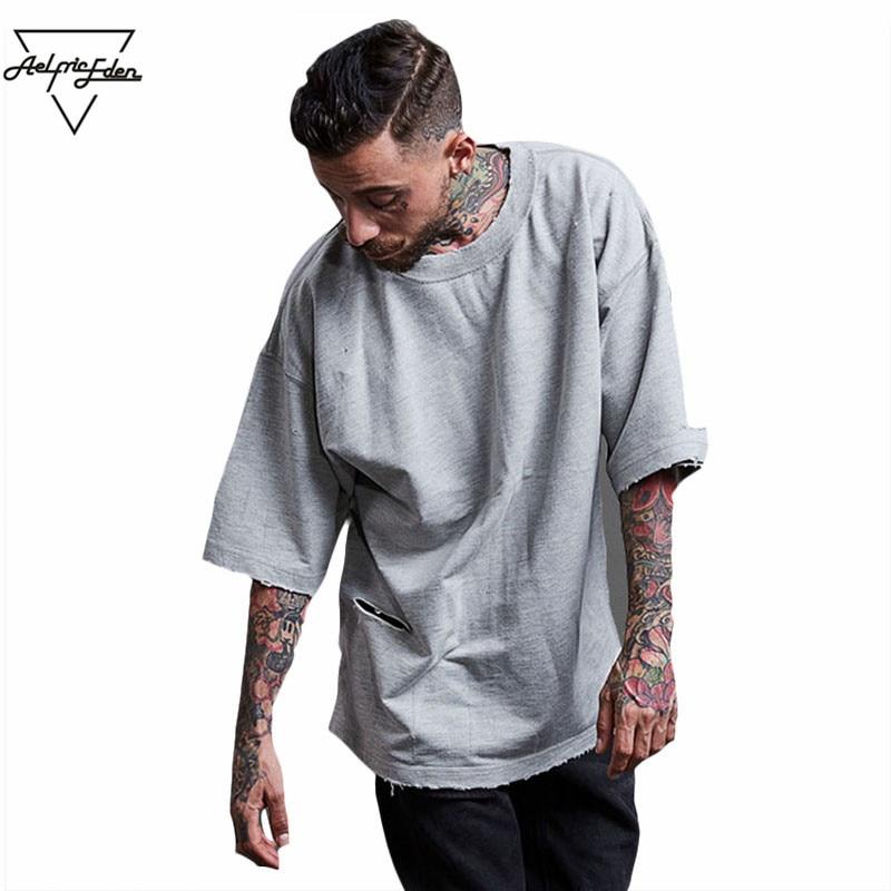 Aelfric Eden Ripped Hole Casual T Shirt Men Short Sleeve Hip Hop Streetwear Kanye West Tide Halloween Basic Tee Cotton Tee F376