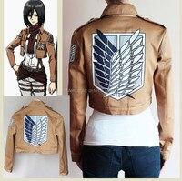 Attack on Titan Jacket Shingeki no Kyojin cosplay costume Eren Jaeger Jacket 5 Size Embroidery tag blue wing Halloween
