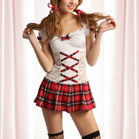 JSY Sexy student girl costumes cosplay school girl uniform outfit plaid skirt polyester lace dress naughty lingerie 8628