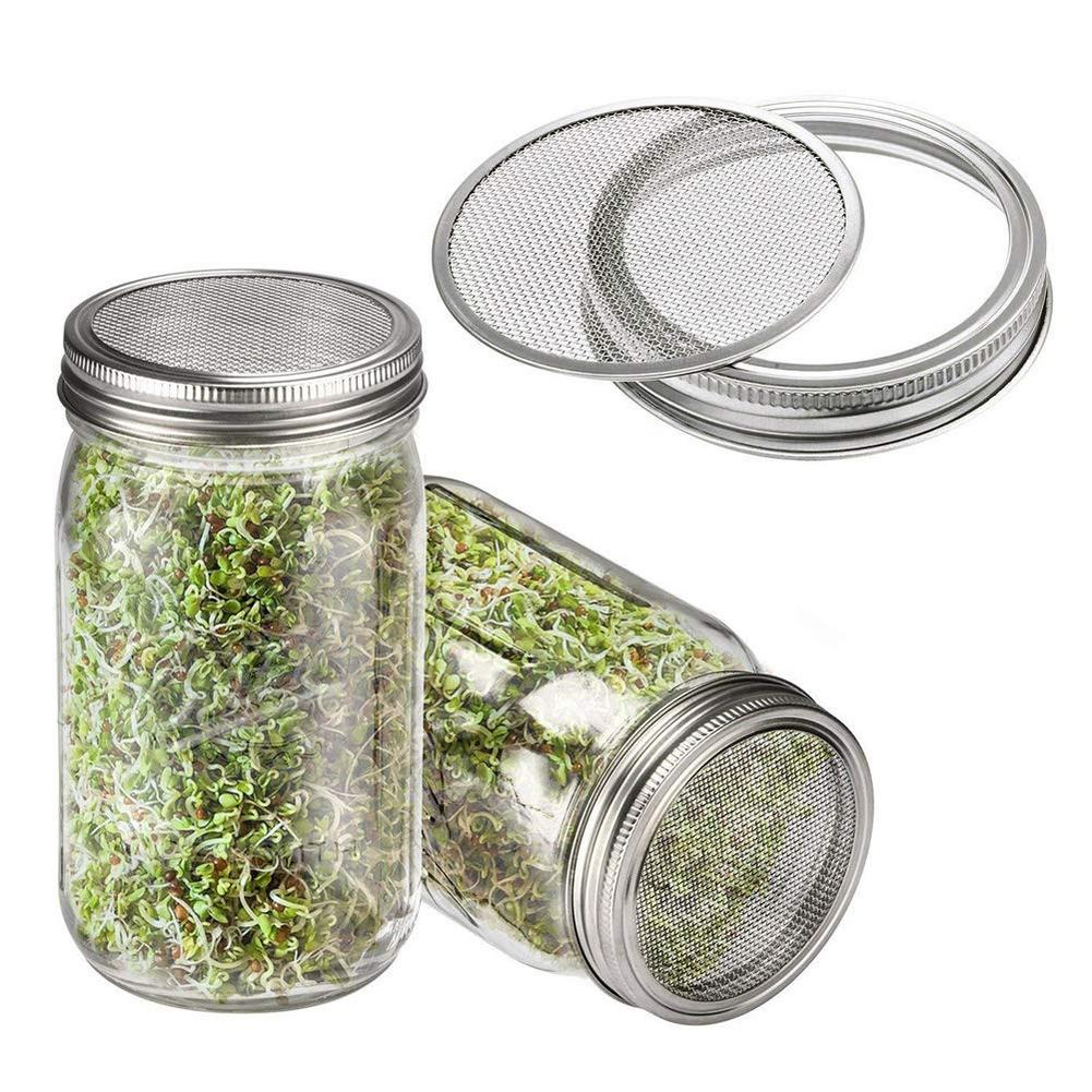 2Pcs Seed Sprouting Lids Strainer Canning Mason Jars Mesh Lid Filter Stainless Steel Screen Filters Wide Mouth Sift Flour Sugar