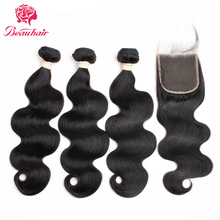 Beauhair Brazilian Body Wave With Closure 3 Bundles & 4*4 Lace Closure 4 Pcs/Lot None Remy Human Hair Weave Bundles With Closure