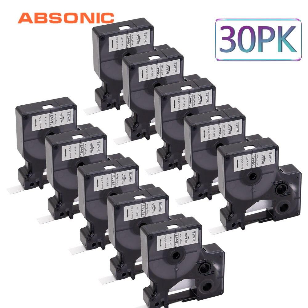 Absonic 30 pièces DYMO Rhino IND 18443 Rubans Vinyle Noir sur Blanc Industriel Étiquette Bande 9mm * 5m Compatible 1000 4200 6000 Étiquette Imprimante