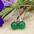 Preços por atacado Bohemia estilo brincos para mulheres exquisite 12mm rodada verde jade jóias longa queda dangle eardrop originais B3152