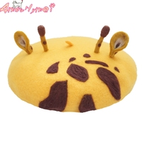 Super Cute Giraffe Wool Berets Hat For Autumn Winter Warm Women Berets Caps Female Painter Hat Boina Feminino Handmade