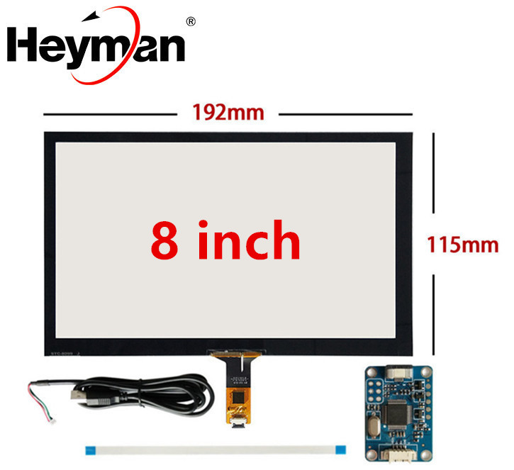 8 Inch 192mm*116mm Raspberry Pi Tablet PC Navigation Capacitive Touch Digitizer Touch Screen Panel Glass USB Driver Board