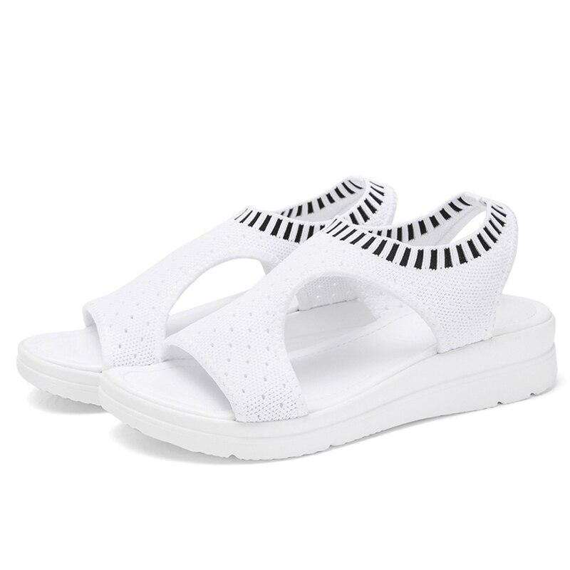 HTB1ZmTANmzqK1RjSZFjq6zlCFXaO Wild Elastic Belt Sports Sandals Summer New Women's Shoes Women's Thick Bottom Fish Mouth Mesh Sandals Drop Shipping