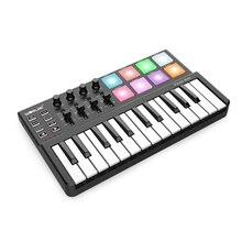 MIDI клавиатура Worlde Panda, портативная 25 клавишная мини клавиатура с USB и барабанная подставка, MIDI контроллер