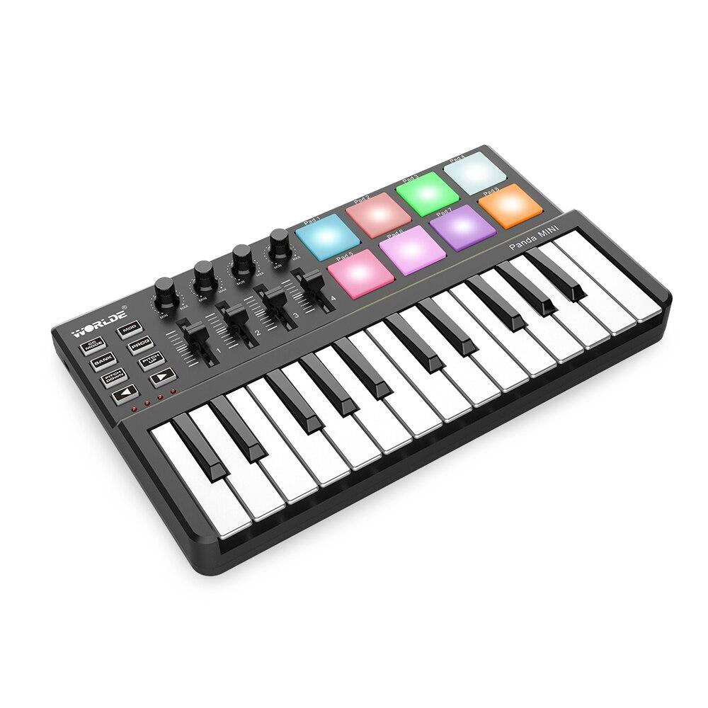 Worlde Panda MIDI Keyboard 25mini Portable Mini 25 Key USB  Keyboard and Drum Pad MIDI ControllerElectronic Organ
