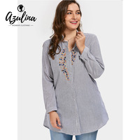 AZULINA Plus Size 2XL 3XL Shirts 2017 Trendy Women Autumn Embroidered Pockets Loose Shirt Striped Long