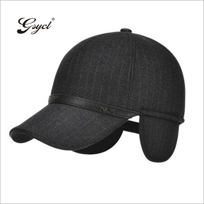 [Gsycl] 2017 New Winter Baseball Cap Autumn Winter Men Wear Outdoor Hats Ear Protecting Hat 3 Colors Black Navy Blue