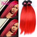Raízes escuras cabelo liso brasileira 7A cabelo brasileiro ombre vermelho tecer vermelho brilhante em linha reta cabelo brasileiro 4 bundles tecer vermelho cabelo
