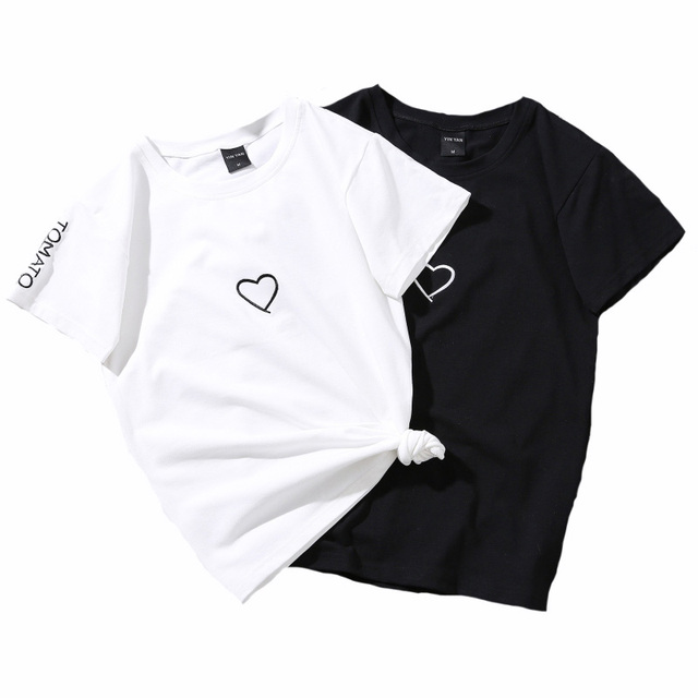 Top Women Summer Tees Cotton Lovers Heart Embroidery Short Sleeve Harajuku T shirt
